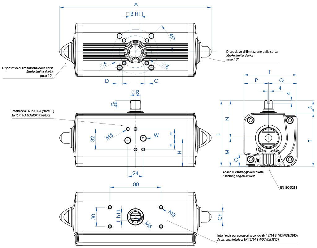 Actuador neumático efecto doble GD de aluminio - dimensiones - Actuador doble efecto medidas desde el GD15 (Nm) al GD1920 (Nm)
