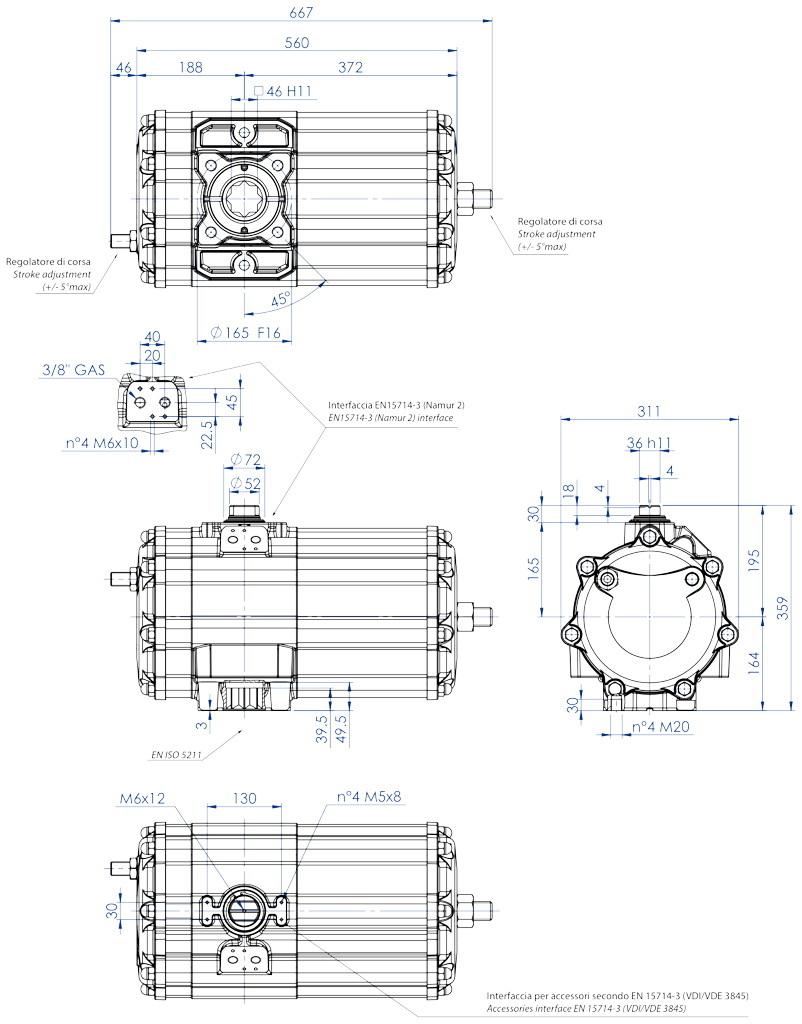 Actuador neumático efecto doble GD de aluminio - dimensiones - Actuador neumático doble efecto medida GD 2880 (Nm)