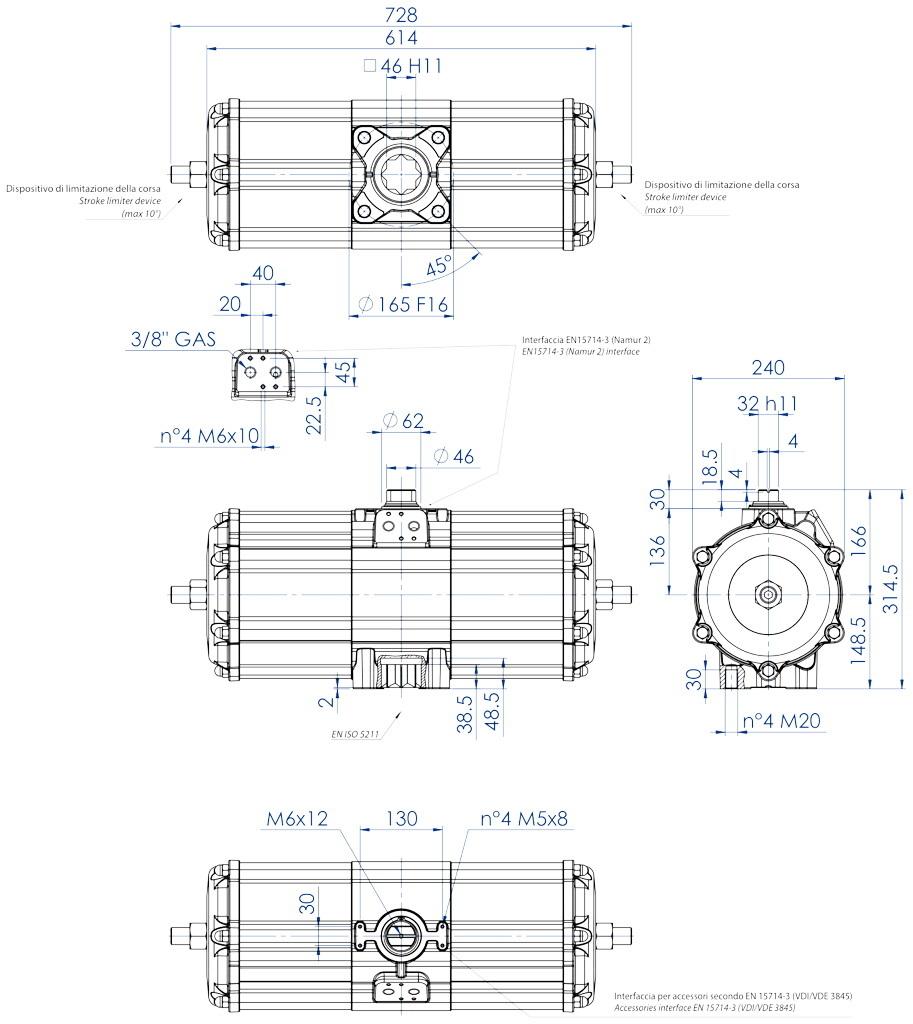 Actuador neumático efecto doble GD de aluminio - dimensiones - Actuador neumático doble efecto medida GD 3840 (Nm)