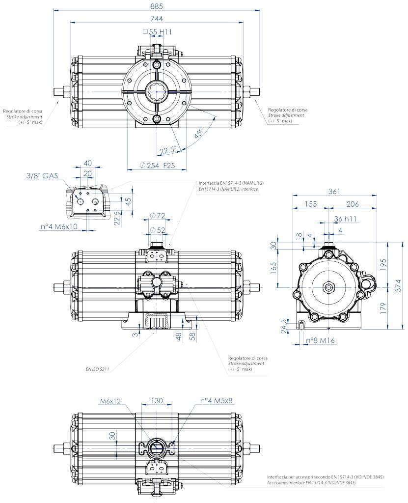 Actuador neumático efecto doble GD de aluminio - dimensiones - Actuador neumático doble efecto medida GD 5760 (Nm)