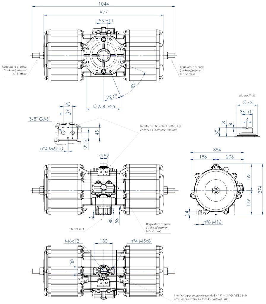 Actuador neumático efecto doble GD de aluminio - dimensiones - Actuador neumático doble efecto medida GD 8000 (Nm)