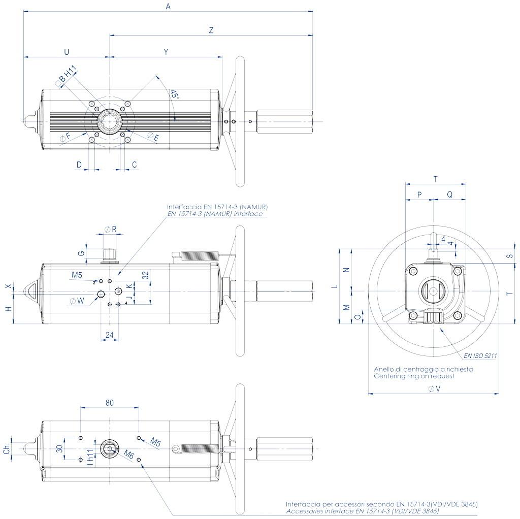 Actuador neumático efecto doble GDV con comando manual integrado - dimensiones - GDV60 ÷ GDV1920