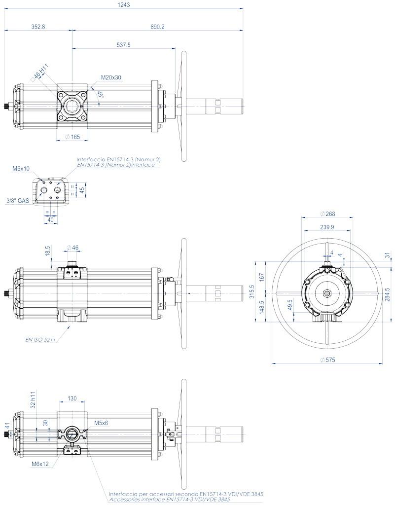 Actuador neumático efecto doble GDV con comando manual integrado - dimensiones - GDV3840