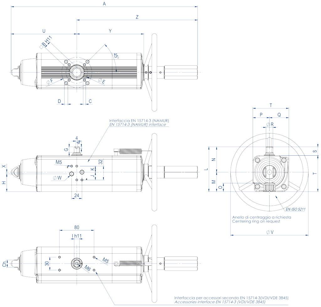 Actuador neumático efecto simple GSV con comando manual integrado - dimensiones - GSV30 ÷ GSV960