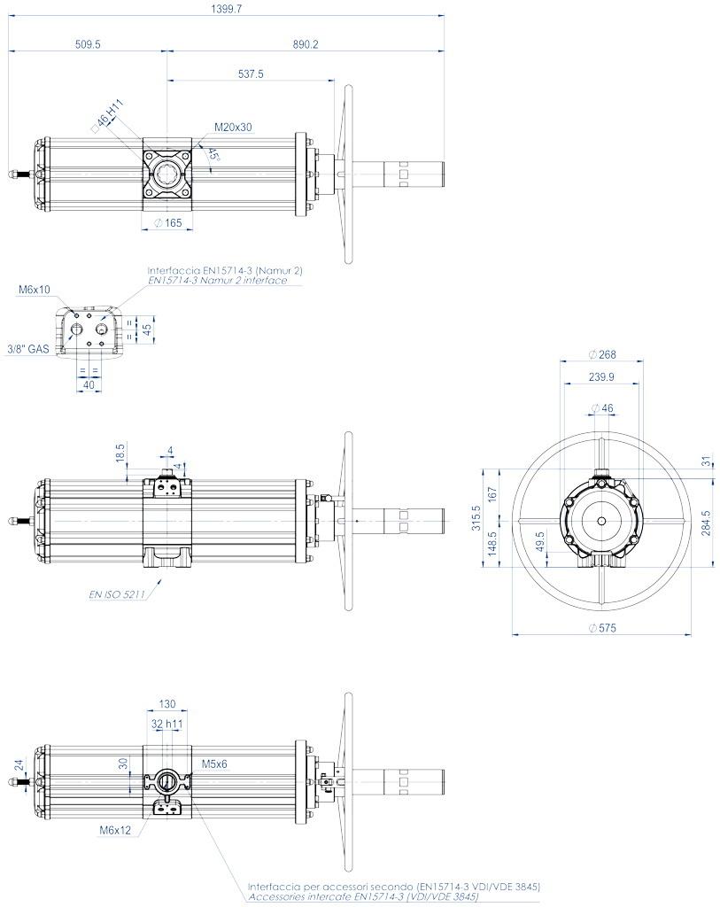 Actuador neumático efecto simple GSV con comando manual integrado - dimensiones - GSV1920