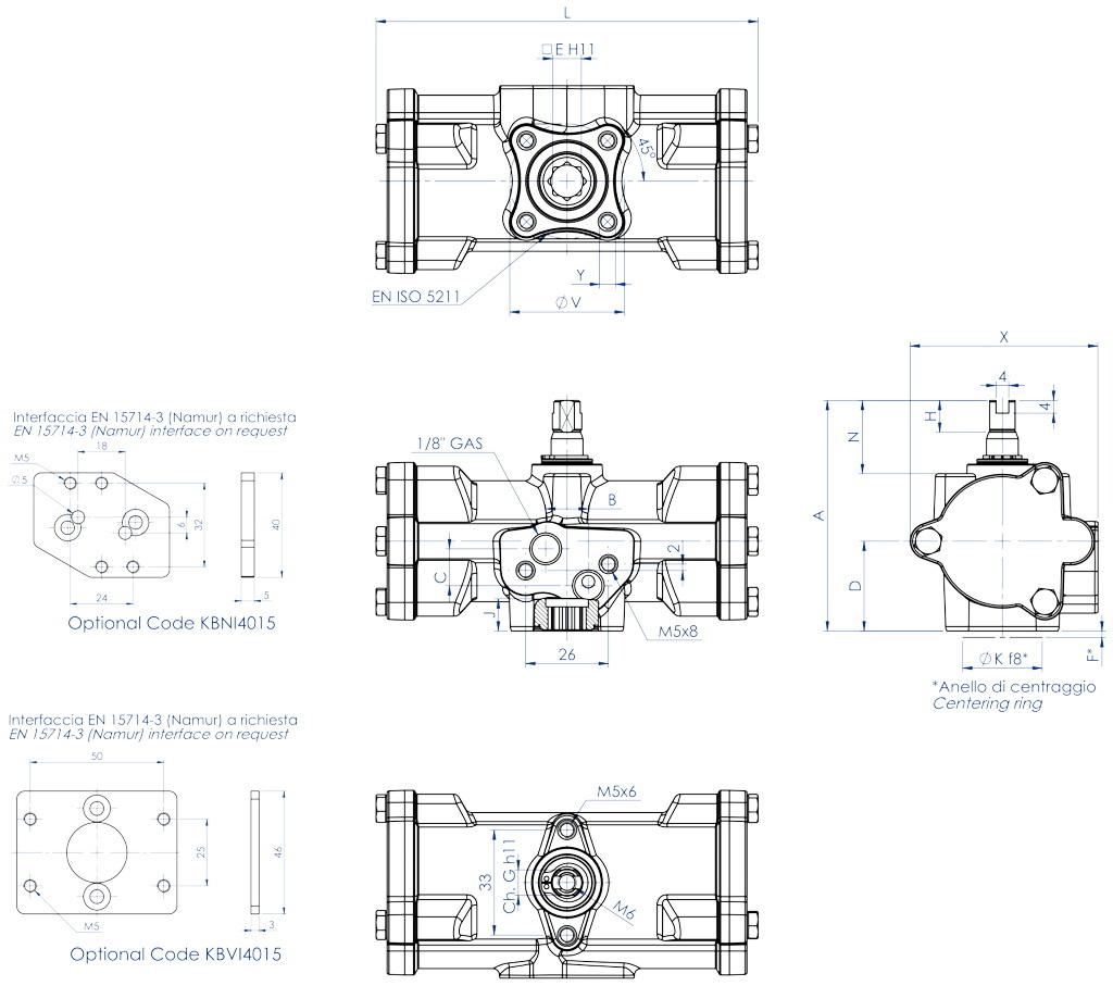 Actuador neumático efecto doble GD inox. CF8M microfundido - dimensiones - GD15 ÷ GD30