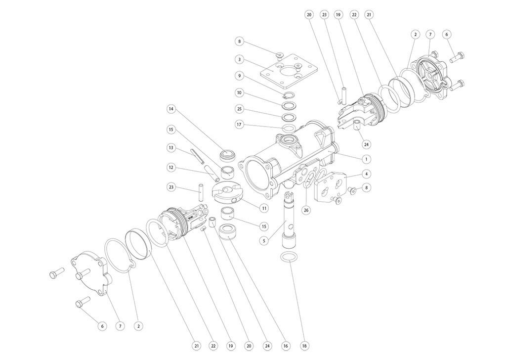 Actuador neumático efecto doble GD inox. CF8M microfundido - materiales - COMPONENTES ACTUADOR NEUMÁTICO DOBLE EFECTO GD CF8M MICROFUNDIDO MEDIDA: GD15-GD30