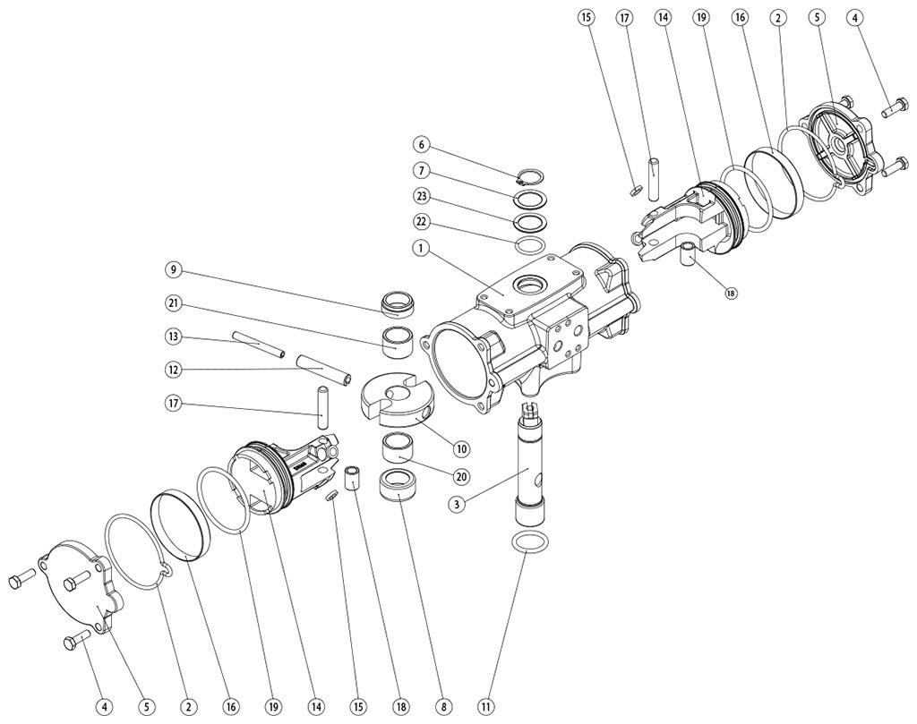 Actuador neumático efecto doble GD inox. CF8M microfundido - materiales - COMPONENTES ACTUADOR NEUMÁTICO DOBLE EFECTO GD CF8M MICROFUNDIDO MEDIDA: GD60-GD480