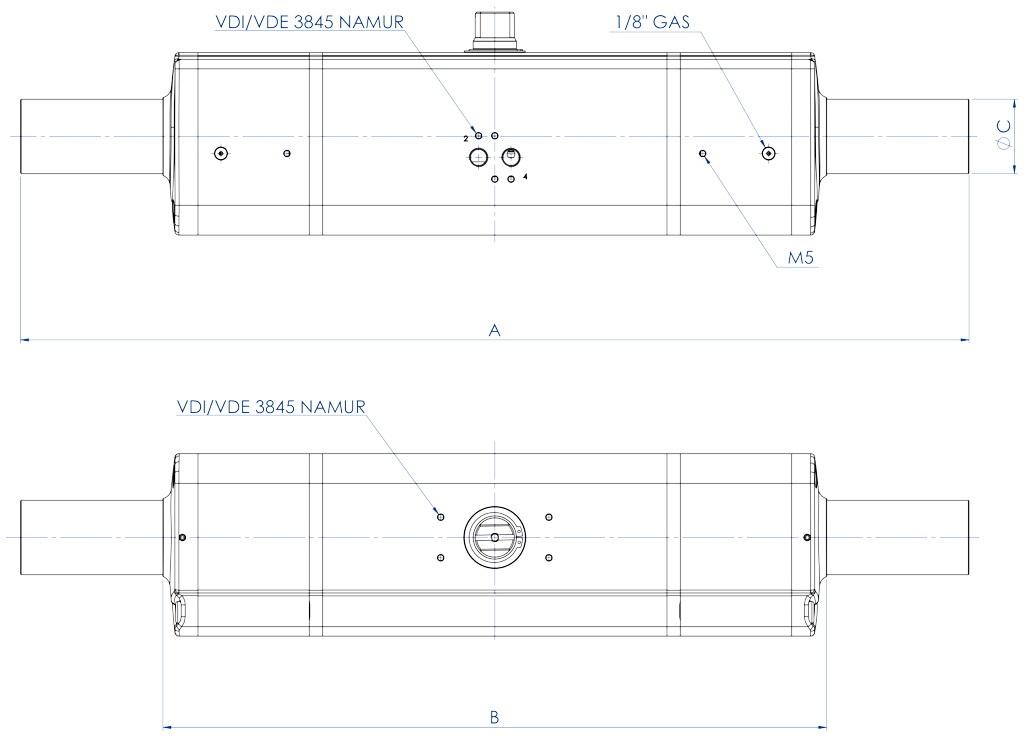 GDD Actuador neumático dosificador de aluminio - dimensiones -