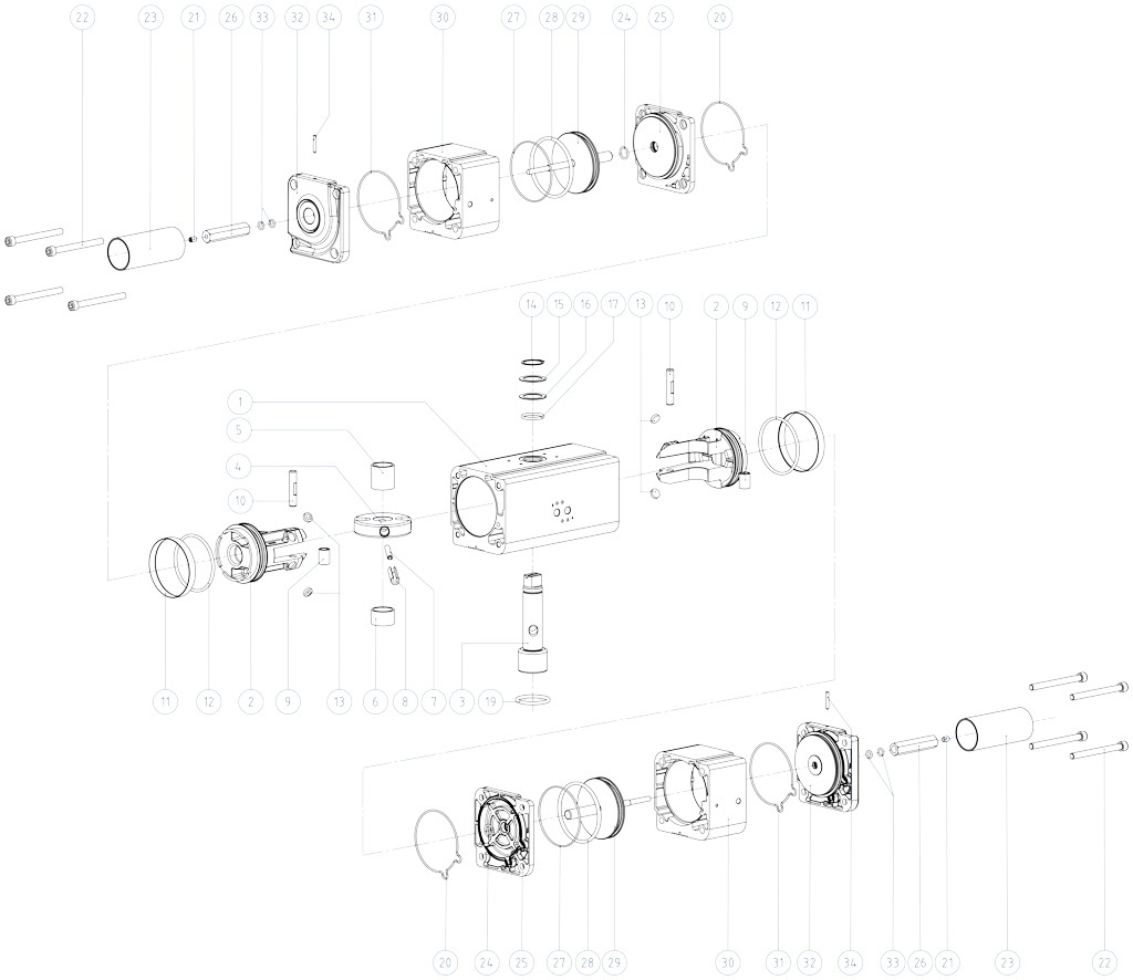 GDD Actuador neumático dosificador de aluminio - materiales - COMPONENTES ACTUADOR NEUMÁTICO DOSIFICADOR MEDIDAS: GDD30 - GDD480