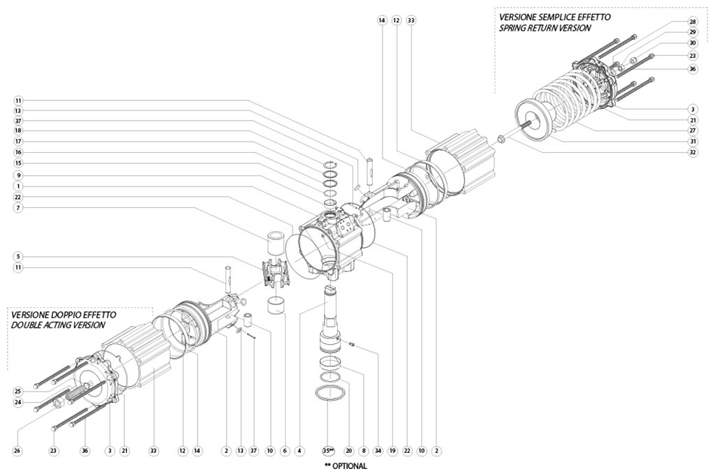 Actuador neumático efecto doble GD de aluminio - materiales - COMPONENTES ACTUADOR NEUMÁTICO DOBLE EFECTO MEDIDA: GD3840