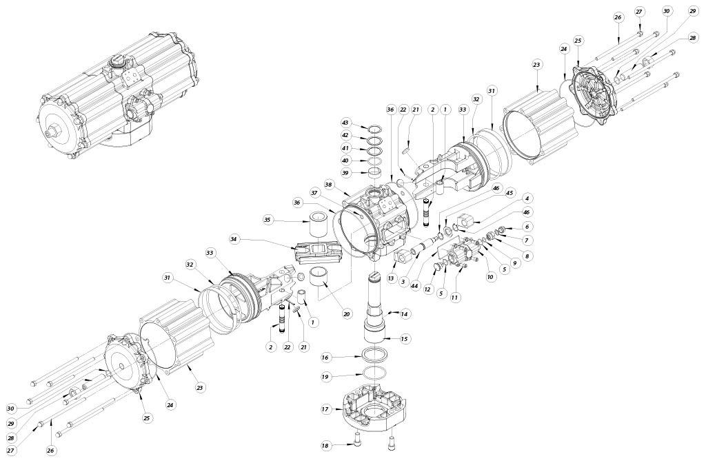 Actuador neumático efecto doble GD de aluminio - materiales - COMPONENTES ACTUADOR NEUMÁTICO DOBLE EFECTO MEDIDA: GD5760