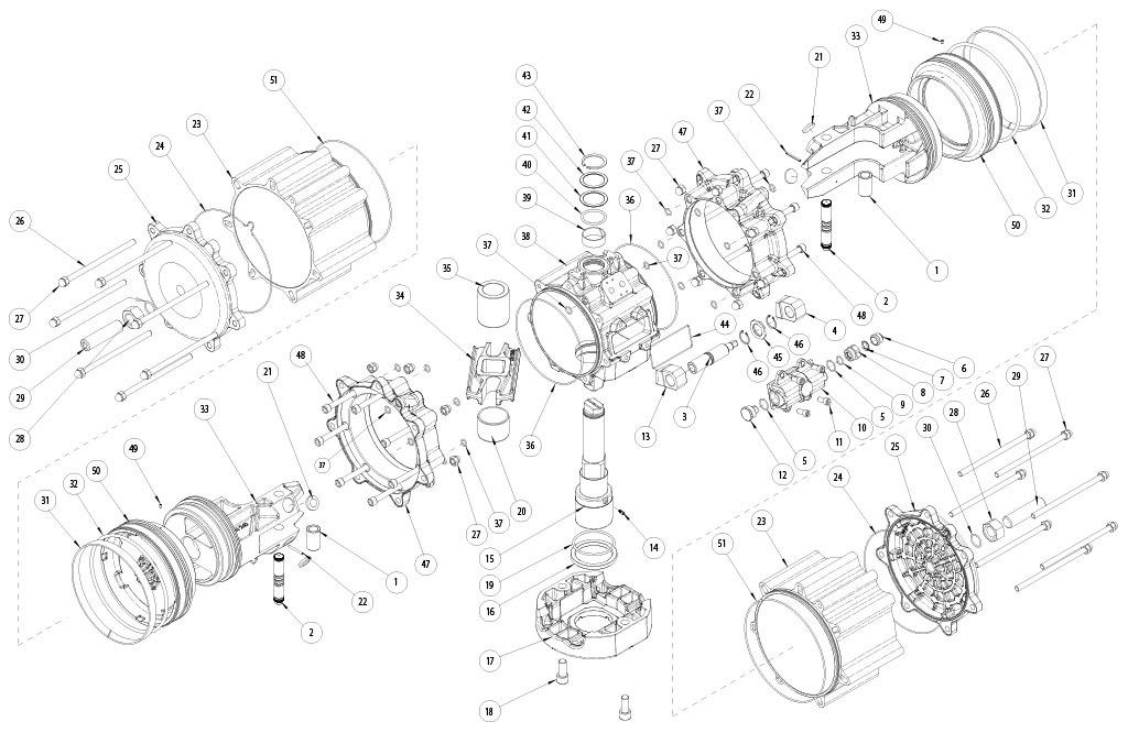 Actuador neumático efecto doble GD de aluminio - materiales - COMPONENTES ACTUADOR NEUMÁTICO DOBLE EFECTO MEDIDA: GD8000