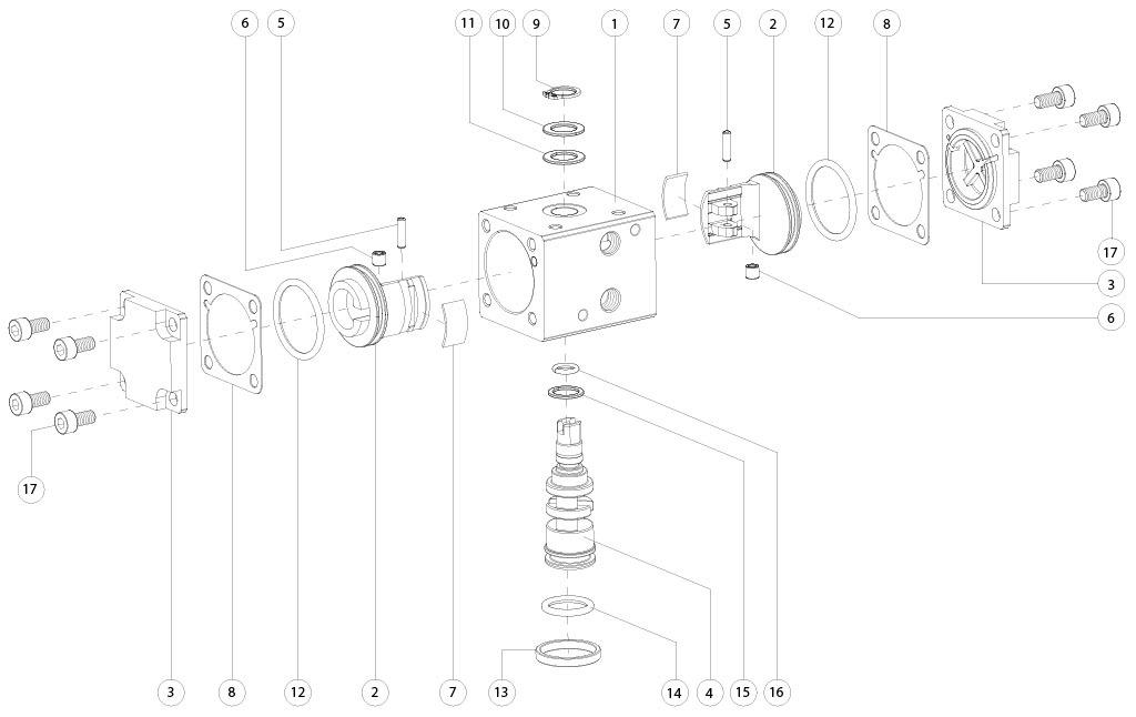 Actuador neumático efecto doble GD de aluminio - materiales - COMPONENTES ACTUADOR NEUMÁTICO DOBLE EFECTO MEDIDA: GD8