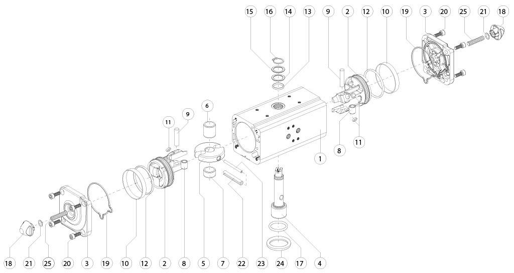 Actuador neumático efecto doble GD de aluminio - materiales - COMPONENTES ACTUADOR NEUMÁTICO DOBLE EFECTO MEDIDA: GD15-GD1920
