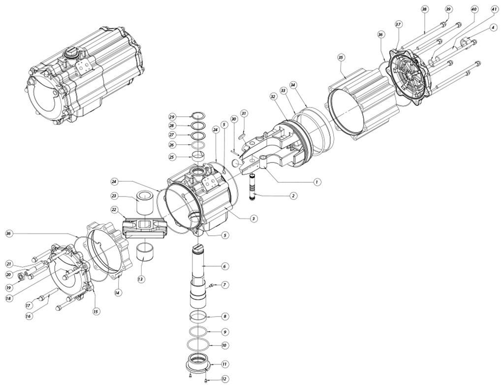 Actuador neumático efecto doble GD de aluminio - materiales - COMPONENTES ACTUADOR NEUMÁTICO DOBLE EFECTO MEDIDA: GD2880