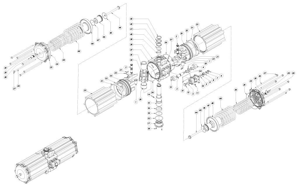 Actuador neumático efecto simple GS de aluminio - materiales - COMPONENTES ACTUADOR NEUMÁTICO SIMPLE EFECTO MEDIDA: GS2880