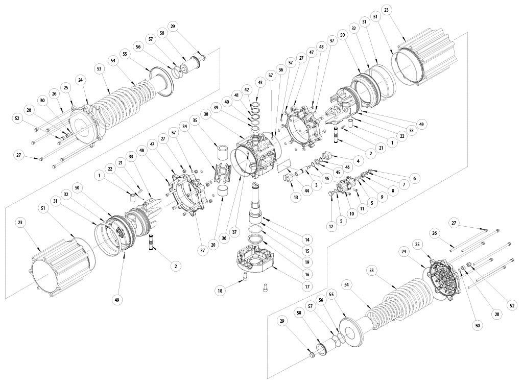 Actuador neumático efecto simple GS de aluminio - materiales - COMPONENTES ACTUADOR NEUMÁTICO SIMPLE EFECTO MEDIDA: GS4000