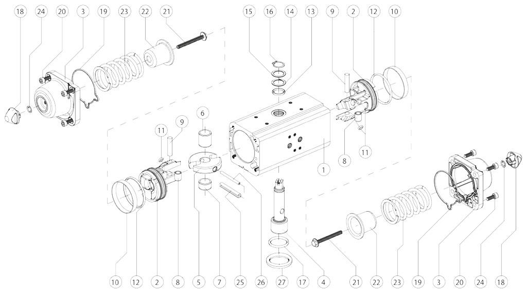 Actuador neumático efecto simple GS de aluminio - materiales - COMPONENTES ACTUADOR NEUMÁTICO SIMPLE EFECTO MEDIDA: GS15-GS960