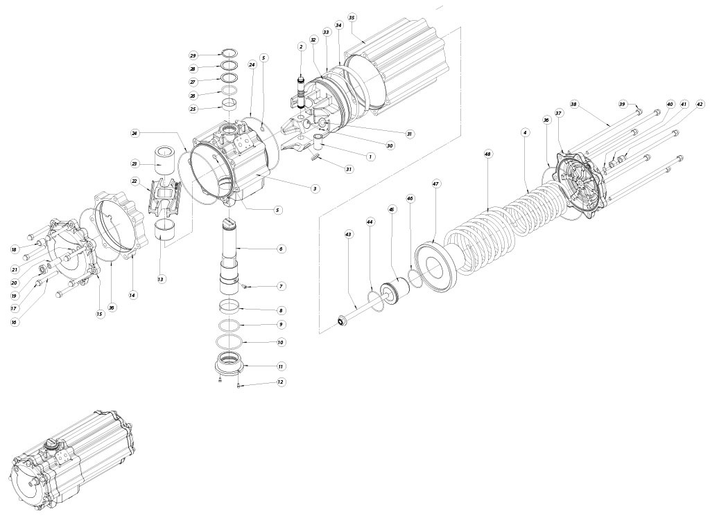 Actuador neumático efecto simple GS de aluminio - materiales - COMPONENTES ACTUADOR NEUMÁTICO SIMPLE EFECTO MEDIDA: GS1440