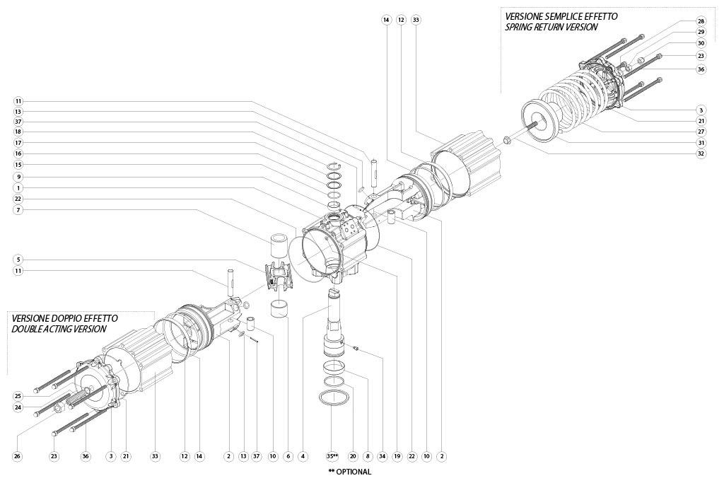 Actuador neumático efecto simple GS de aluminio - materiales - COMPONENTES ACTUADOR NEUMÁTICO SIMPLE EFECTO MEDIDA: GS1920