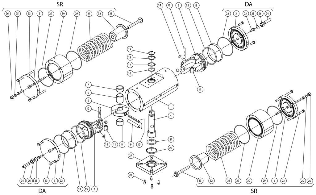 Actuador neumático efecto doble GD acero al carbono A105 - materiales - COMPONENTES ACTUADOR NEUMÁTICO EFECTO DOBLE Y SIMPLE A105 DE BARRA