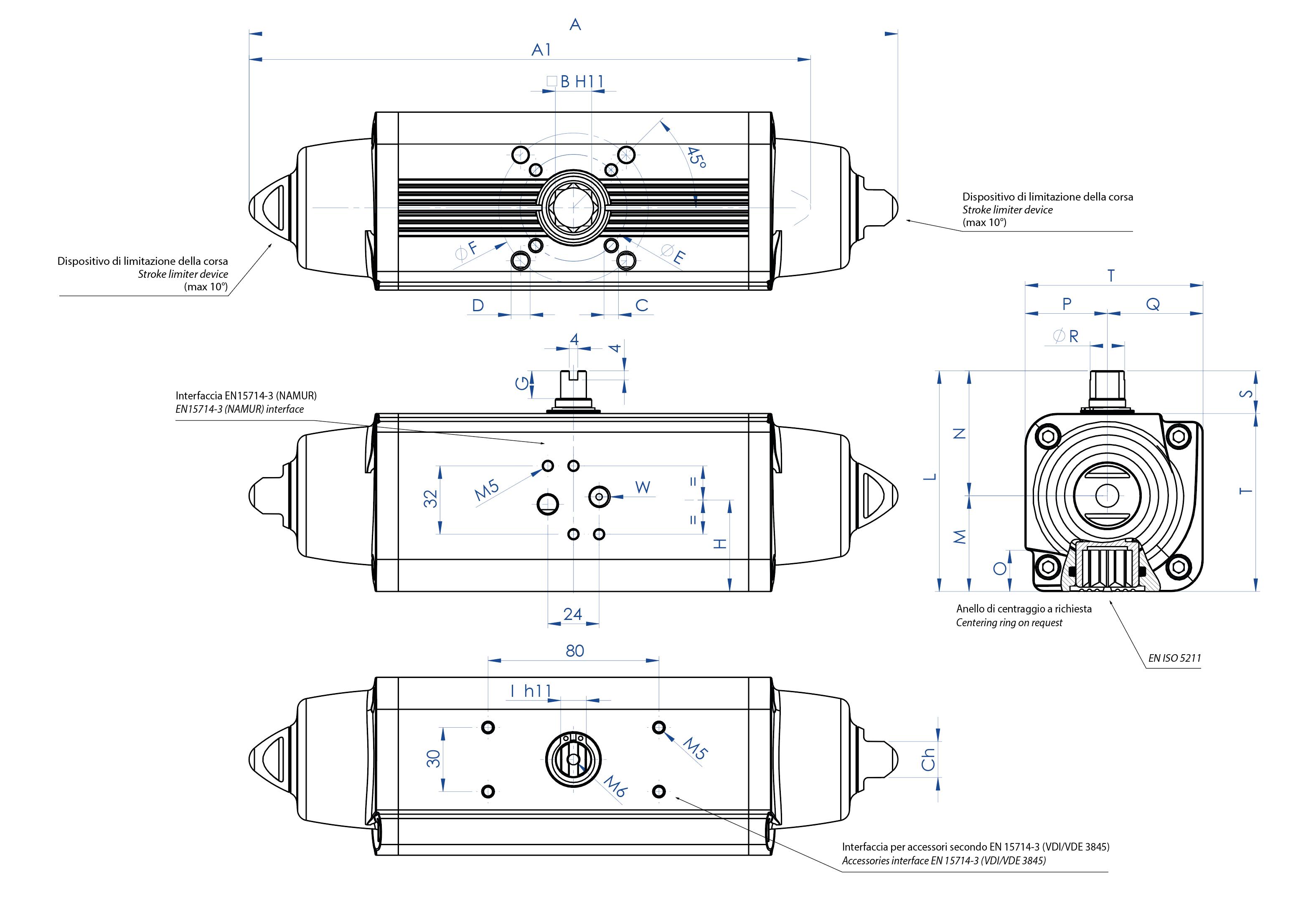 Actuador neumático efecto simple GS de aluminio - dimensiones - Actuador neumático simple efecto medidas desde el GS15 (Nm) al GS960 (Nm)
