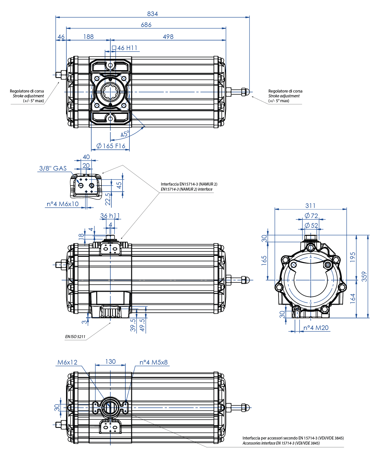 Actuador neumático efecto simple GS de aluminio - dimensiones - Actuador neumático simple efecto medida GS 1440 (Nm)