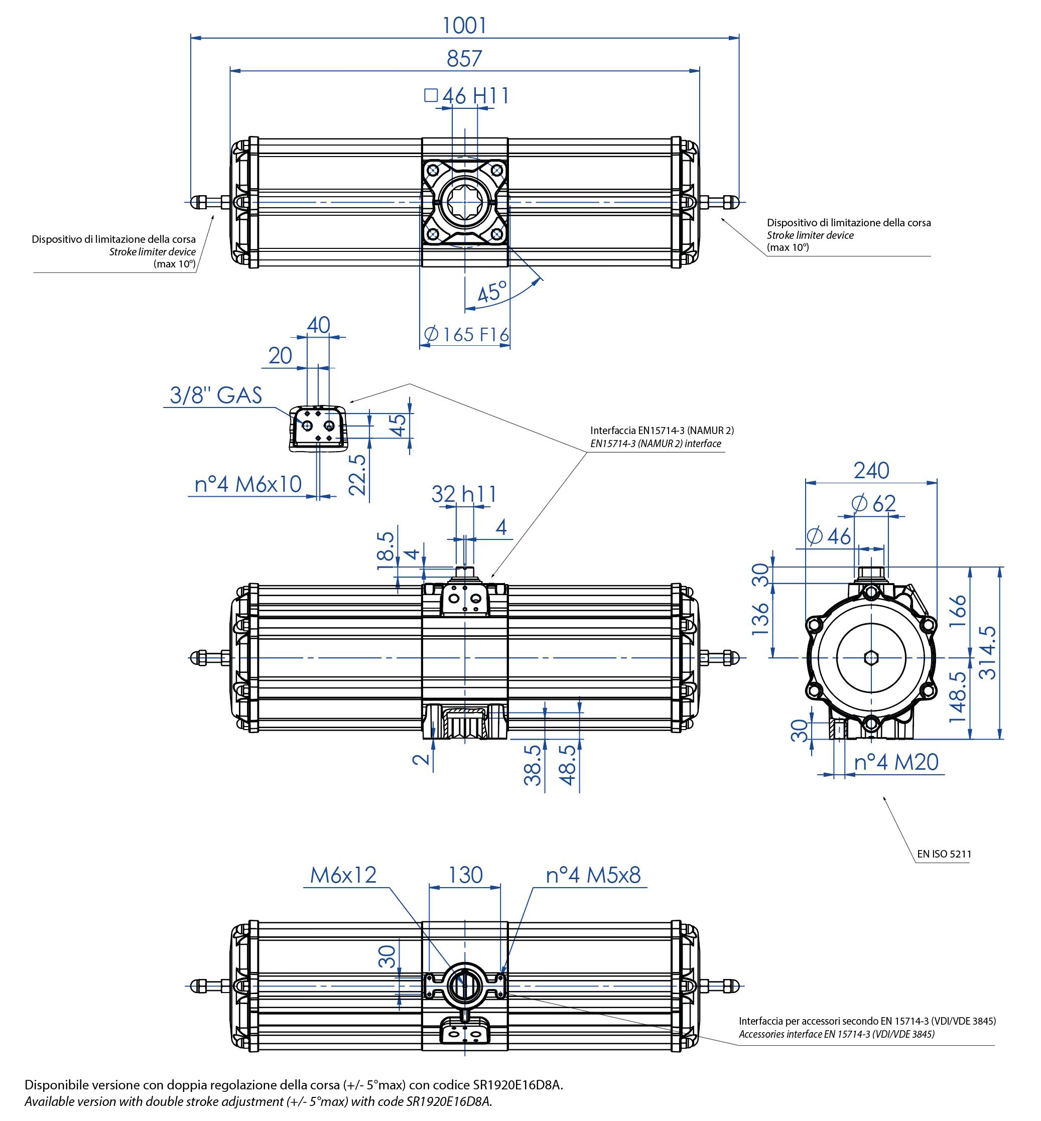 Actuador neumático efecto simple GS de aluminio - dimensiones - Actuador neumático simple efecto medida GS 1920 (Nm)