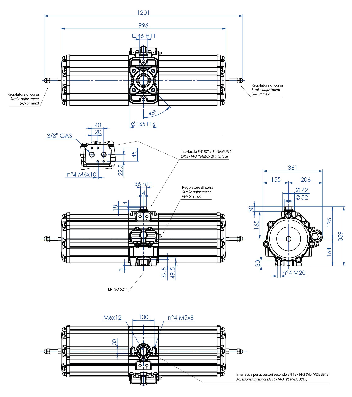 Actuador neumático efecto simple GS de aluminio - dimensiones - Actuador neumático simple efecto medida GS 2880 (Nm)