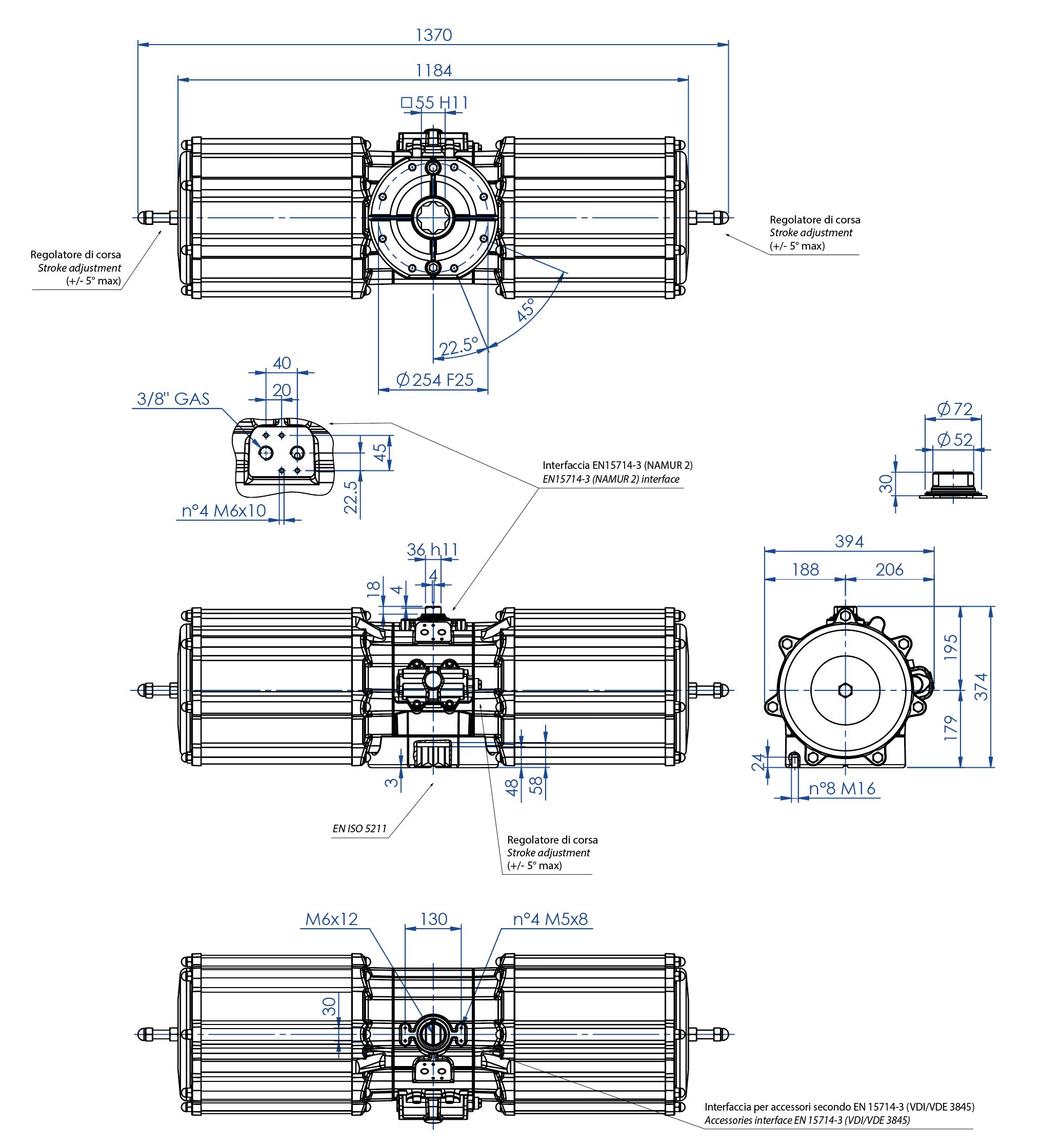 Actuador neumático efecto simple GS de aluminio - dimensiones - Actuador neumático simple efecto medida GS 4000 (Nm)