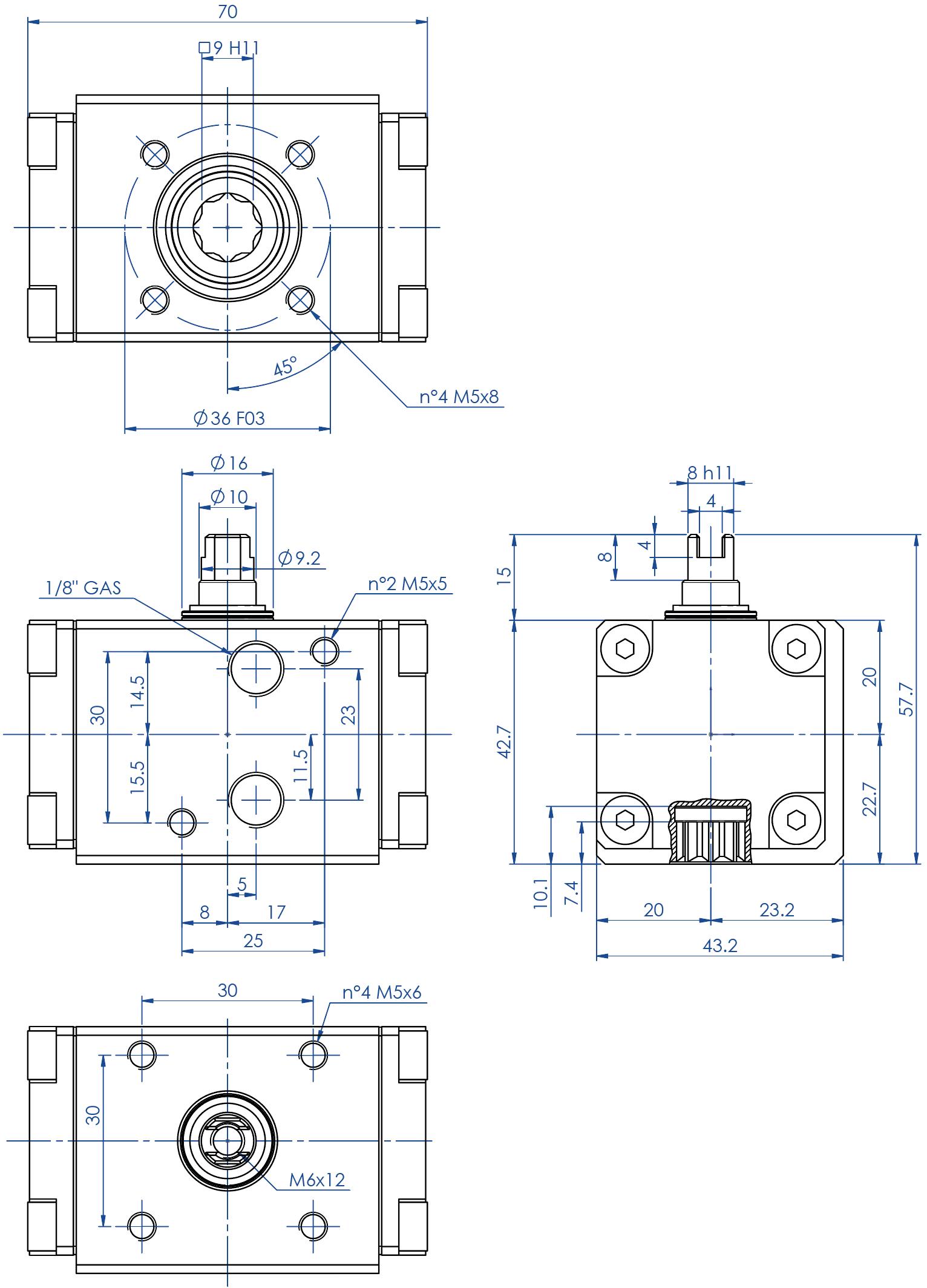 Actuador neumático efecto doble GD de aluminio - dimensiones - Actuador doble efecto medida GD08 (Nm)