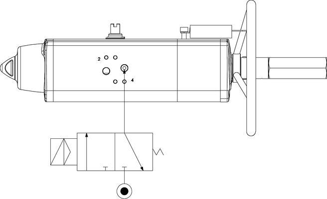 Actuador neumático efecto simple GSV con comando manual integrado - especificaciones -