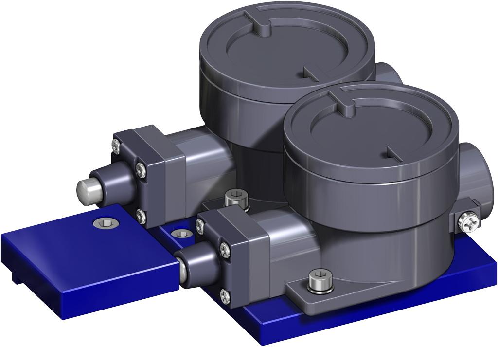 Actuador neumático efecto simple GS 40 PSI ÷ 2,8 bar - accesorios - TOPES ANTIDEFLAGRANTES II2GD ExdIIC