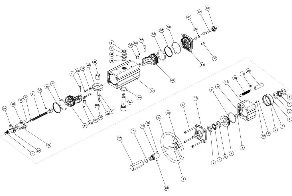 Actuador neumático efecto doble GDV con comando manual integrado - materiales - COMPONENTES ACTUADOR NEUMÁTICO DOBLE EFECTO CON COMANDO MANUAL INTEGRADO - MEDIDA: HASTAGDV1920