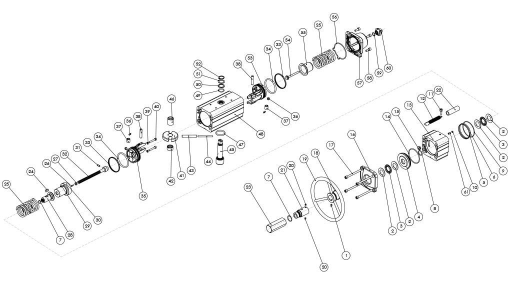 Actuador neumático efecto simple GSV con comando manual integrado - materiales - COMPONENTES ACTUADOR NEUMÁTICO SIMPLE EFECTO CON COMANDO MANUAL INTEGRADO - MEDIDAS: HASTA GSV960