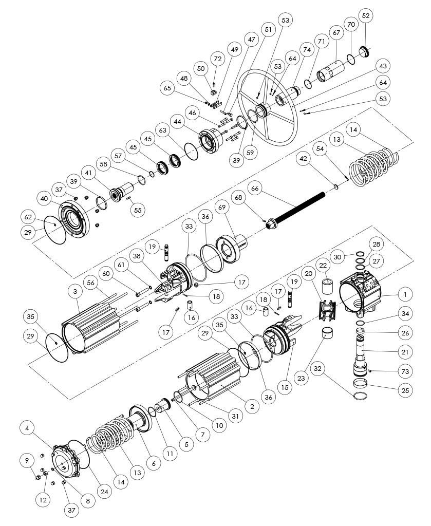 Actuador neumático efecto simple GSV con comando manual integrado - materiales - COMPONENTES ACTUADOR NEUMÁTICO SIMPLE EFECTO CON COMANDO MANUAL INTEGRADO - MEDIDA: GSV1920