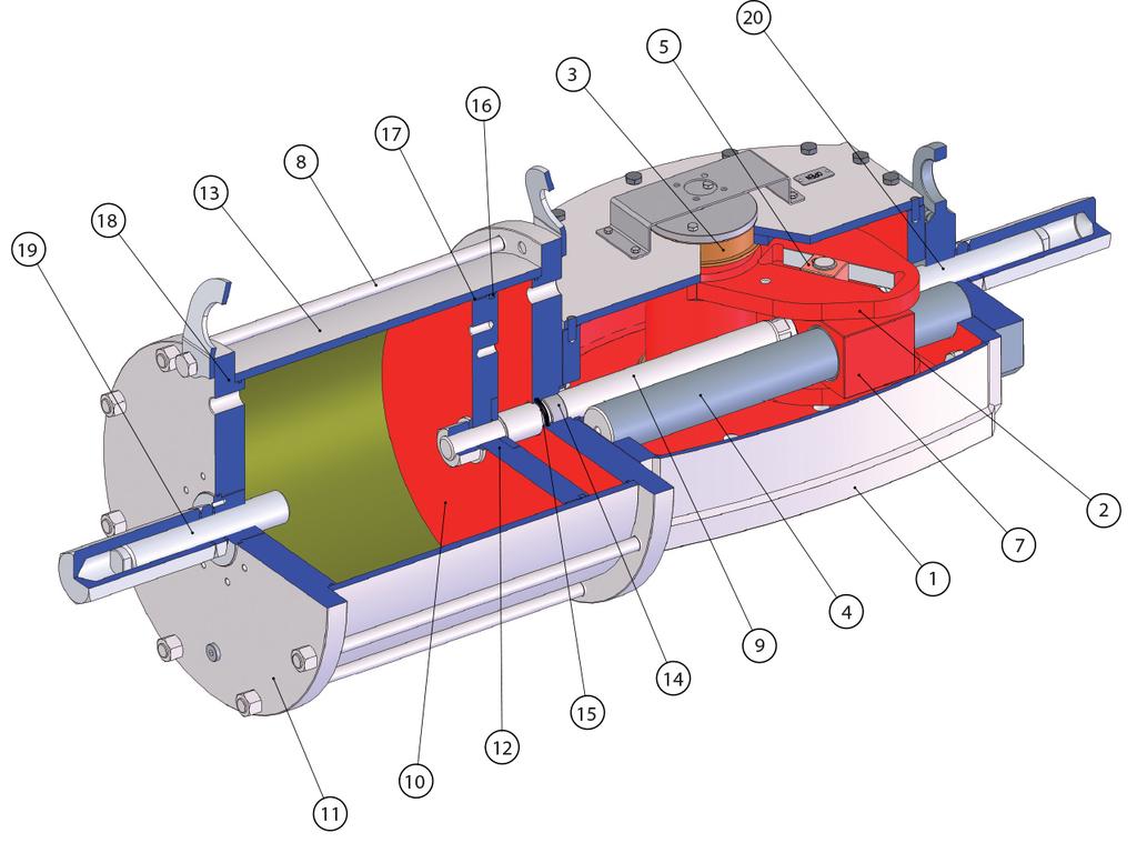 Actuador neumático efecto doble GD Heavy Duty de acero al carbono - materiales -