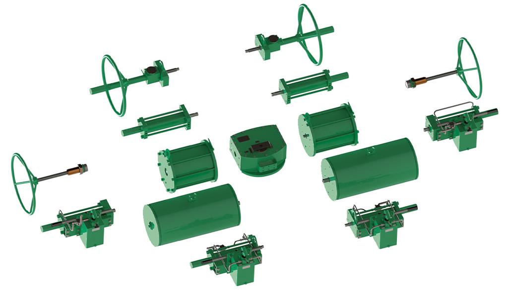 Actuador neumático efecto simple GS Heavy Duty de acero al carbono - accesorios - Diseño de Construcción Modular