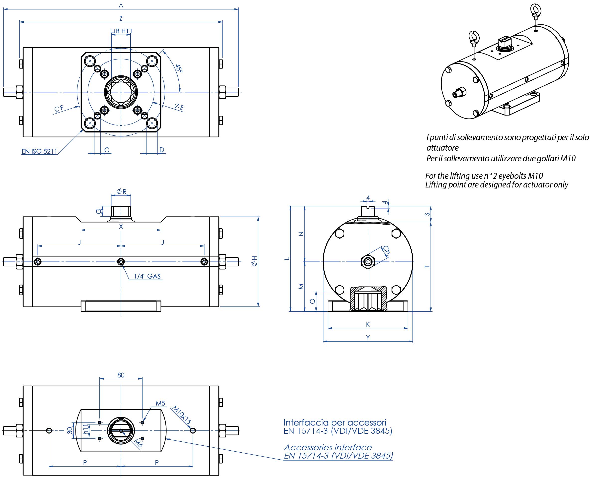Actuador neumático efecto doble GD acero al carbono A105 - dimensiones -