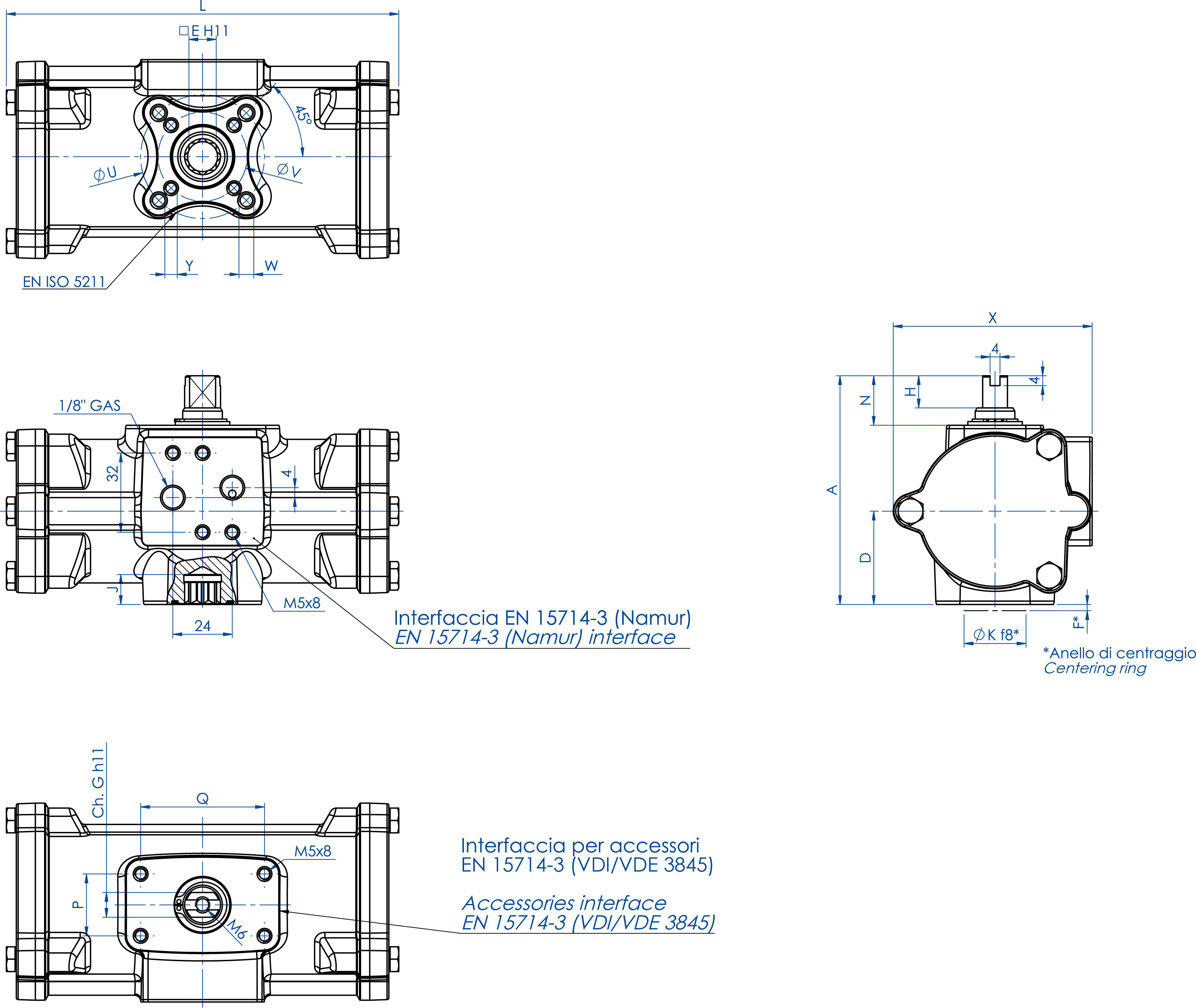 Actuador neumático efecto doble GD inox. CF8M microfundido - dimensiones - GD60 ÷ GD480